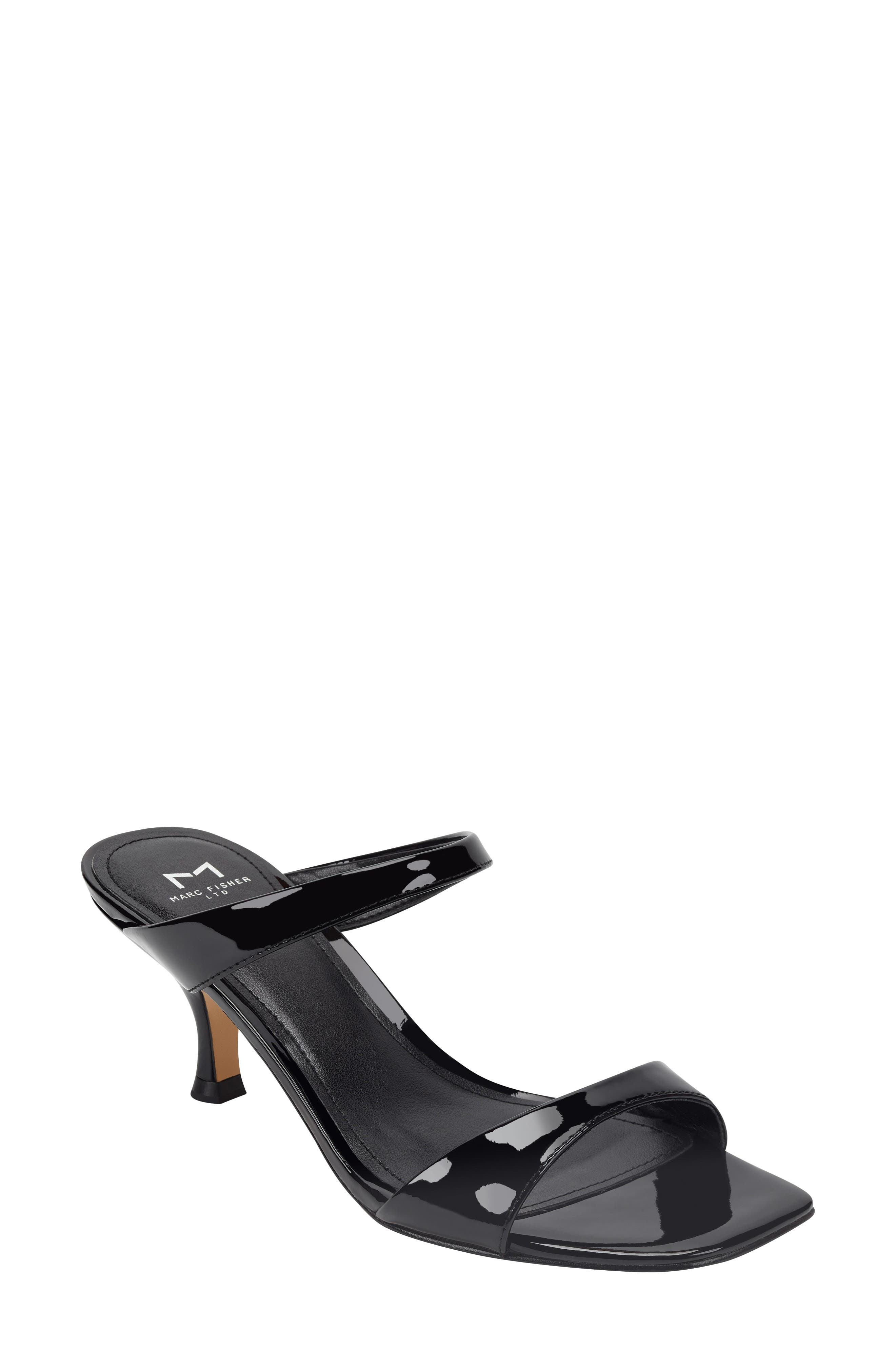 A poised, tapered heel lifts a square-toe sandal topped with two svelte straps. Style Name: Marc Fisher Ltd Genia Slide Sandal (Women). Style Number: 5943695. Available in stores.