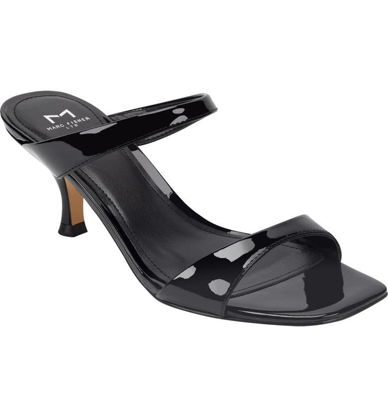 MARC FISHER LTD Genia Slide Sandal, Main, color, BLACK PATENT LEATHER