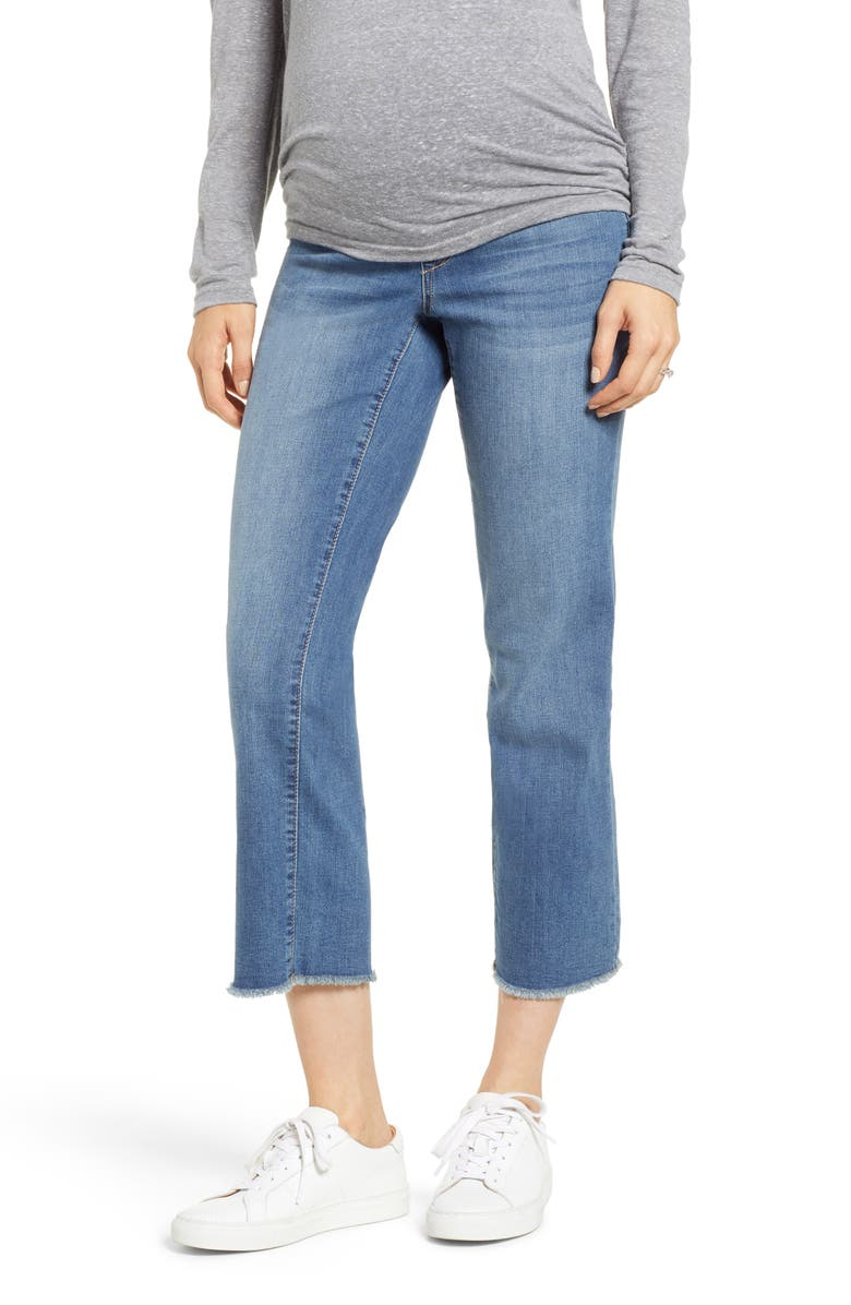 1822 DENIM Fray Hem Straight Leg Maternity Jeans, Main, color, KORN