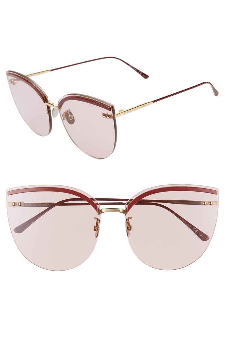 BOTTEGA VENETA 62mm Oversize Rimless Cat Eye Sunglasses, Main, color, PINK/ BURGUNDY/ GOLD