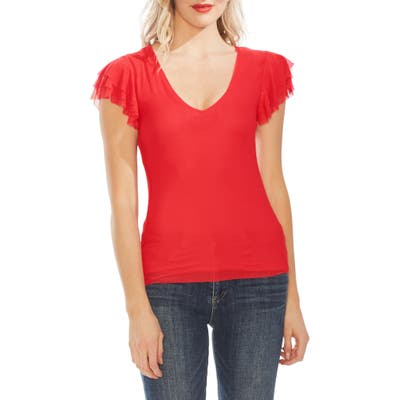Vince Camuto Tier Ruffle Sleeve Mesh Top, Red