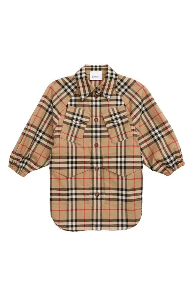 BURBERRY Teigan Check Print Jacket, Main, color, ARCHIVE BEIGE