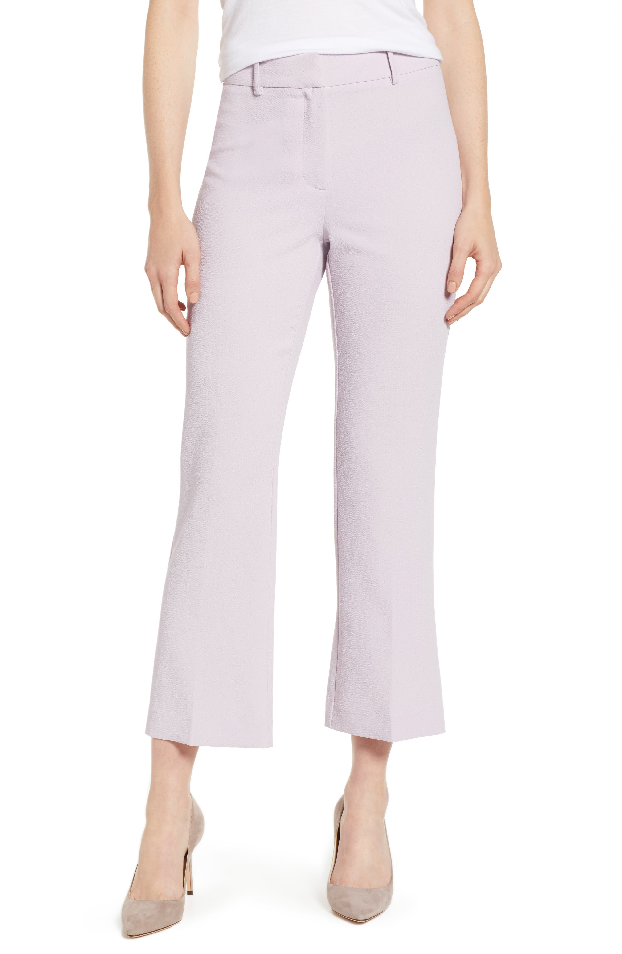 Crepe Kick Flare Ankle Pants, Main, color, ORCHID BUD