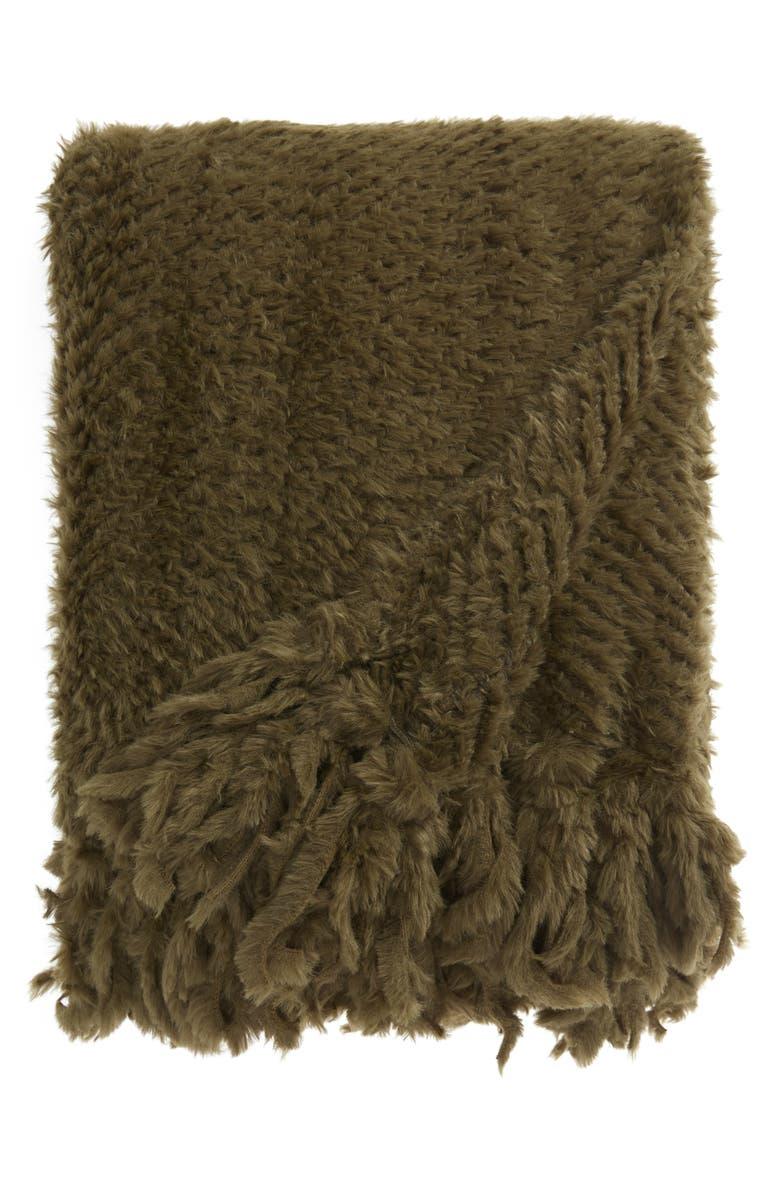 RACHEL PARCELL Plume Faux Fur Throw Blanket, Main, color, 301