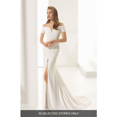 Rosa Clara Couture Padua Off The Shoulder Crepe Gown, Size IN STORE ONLY - Ivory