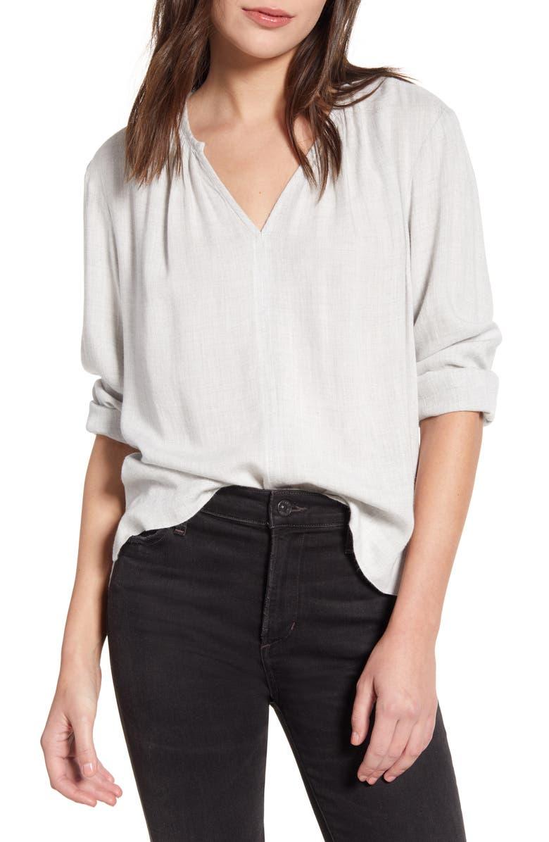 SPLENDID Heather V-Neck Shirt, Main, color, 020