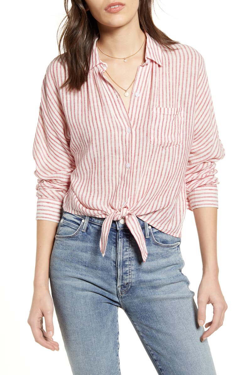 RAILS Rylan Stripe Tie Front Shirt, Main, color, BELMONT STRIPE