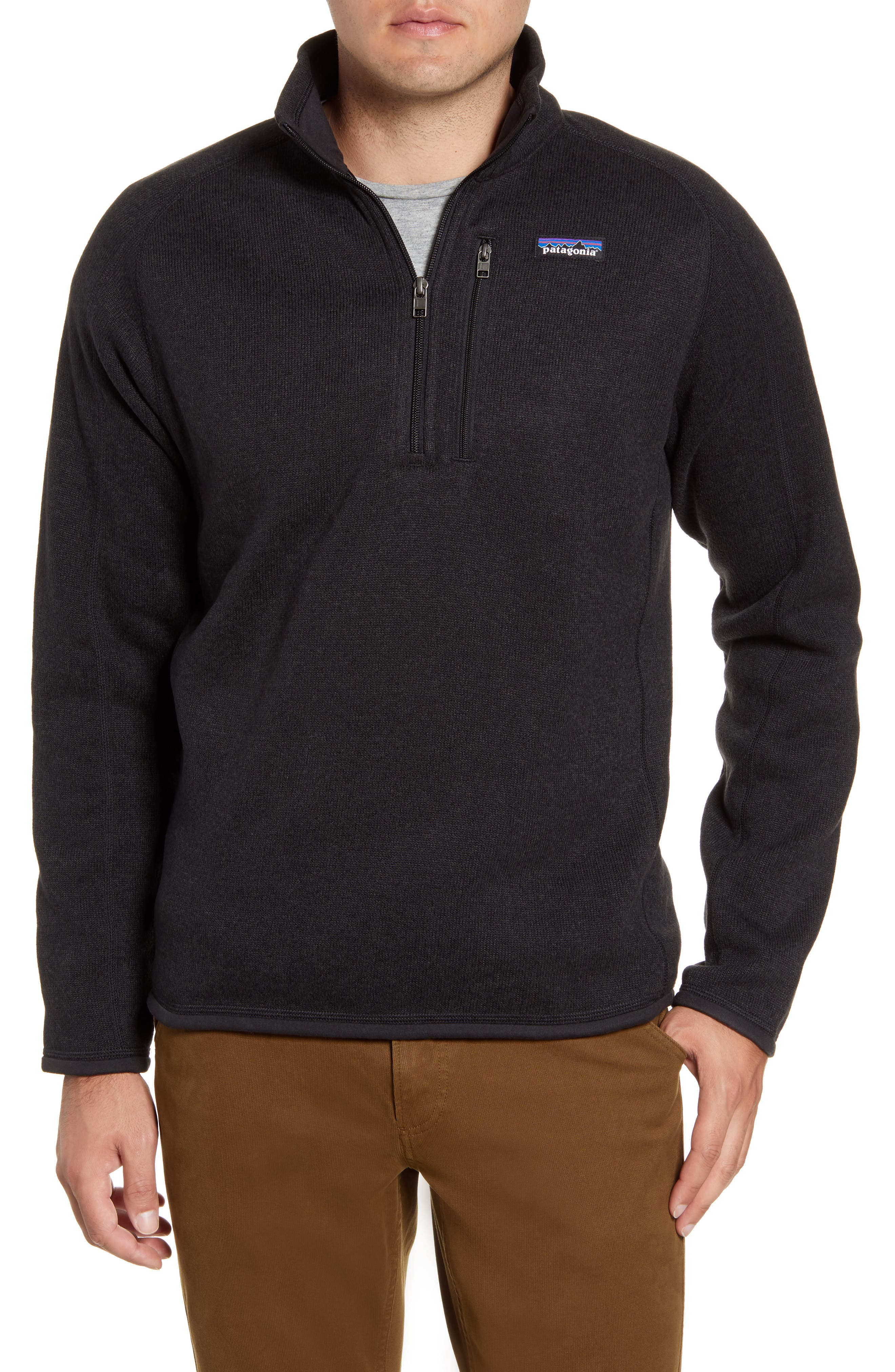 Great as outerwear or as a midlayer, this quarter-zip pullover combines a sweater-gauge face with a soft fleece interior for unbeatable comfort and warmth. Raglan sleeves and flatlock seams allow for greater mobility, while a mesh-lined chest pocket stashes cards, keys or your phone. Even better, it\\\'s made from recycled fibers and dyed with a low-impact process that uses less water and energy consumption than conventional methods. Style