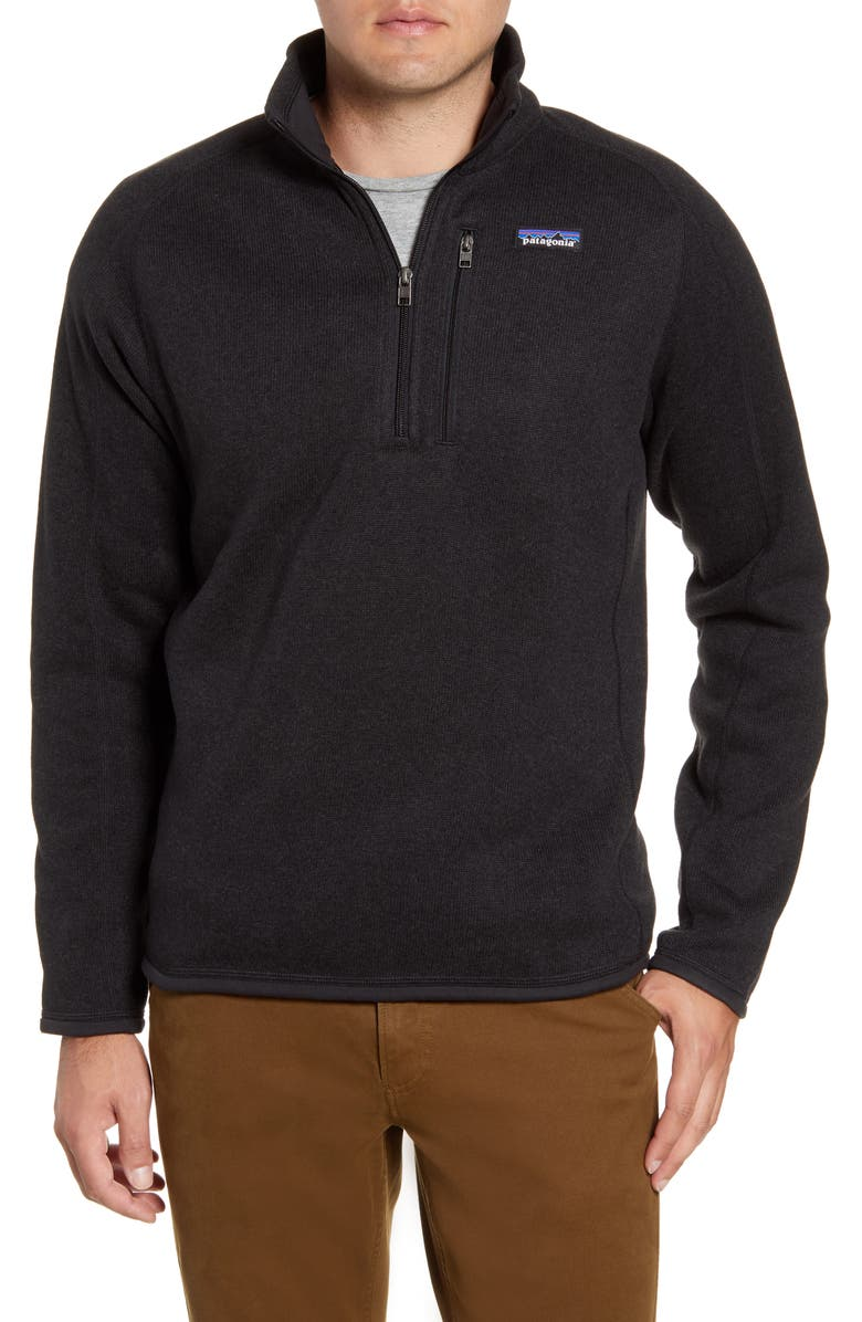 PATAGONIA Better Sweater<sup>®</sup> Quarter Zip Jacket, Main, color, BLACK