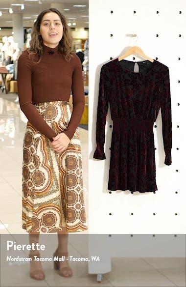 x Glam Tara Gibson Flocked Velvet Long Sleeve Date Dress, sales video thumbnail