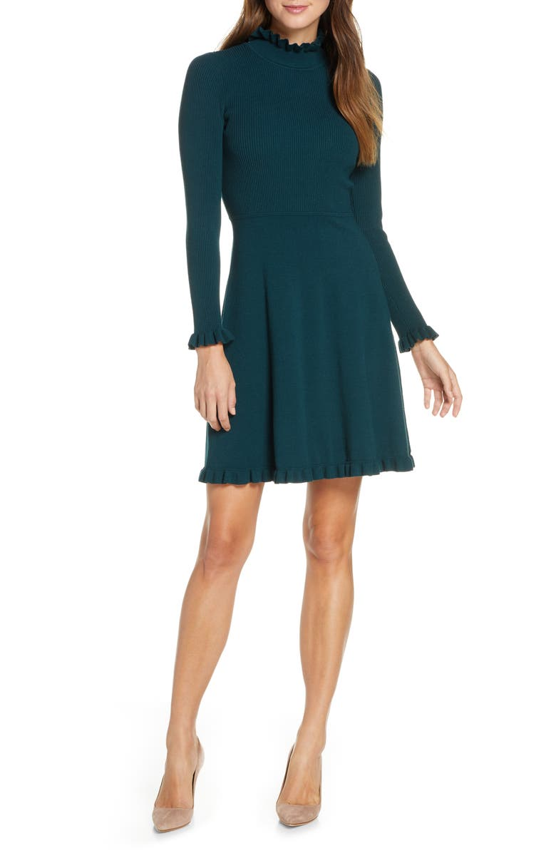 ELIZA J Ruffle Trim Long Sleeve Sweater Dress, Main, color, 310