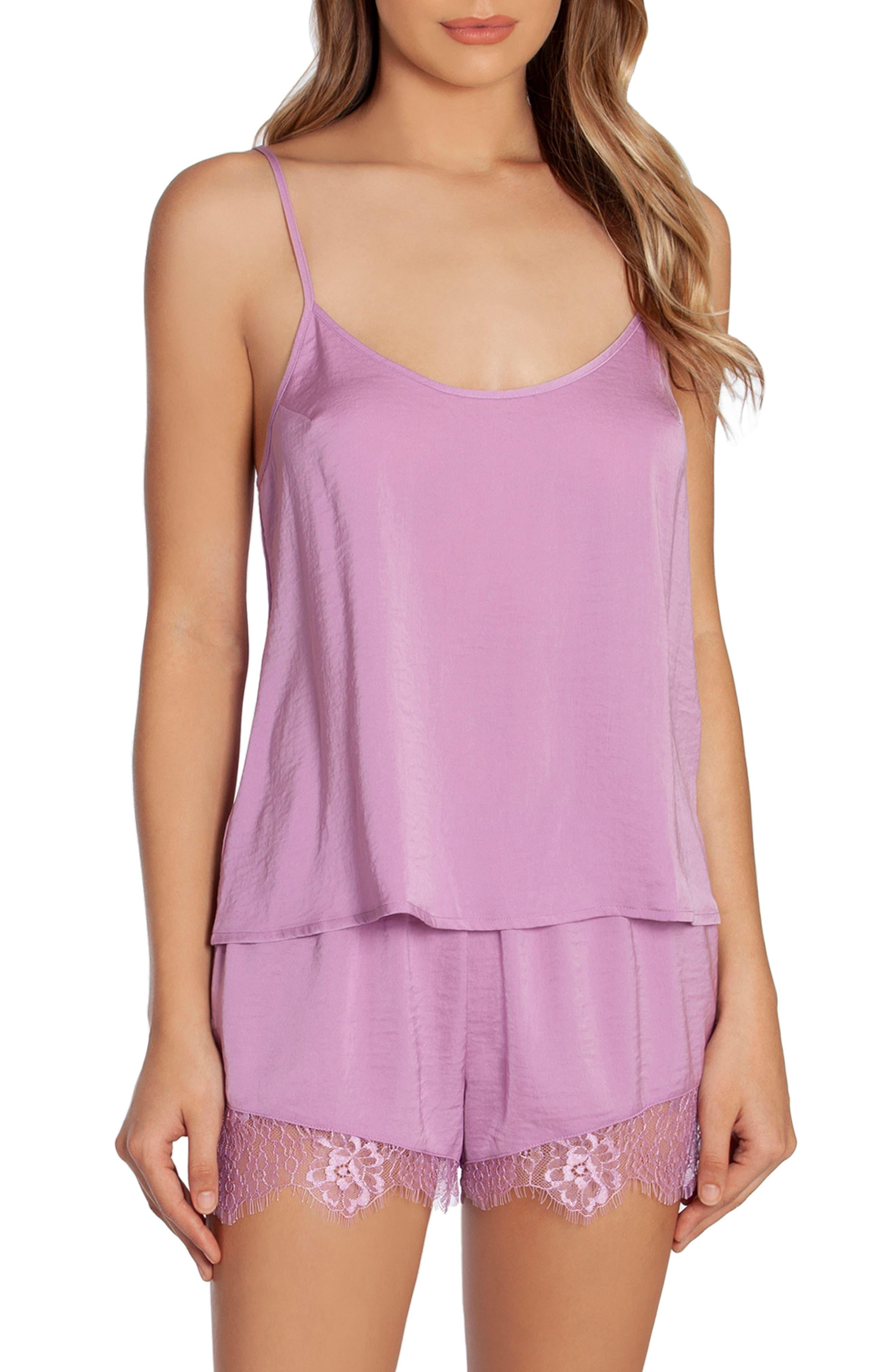 Anais Lace Trim Hammered Satin Short Pajamas