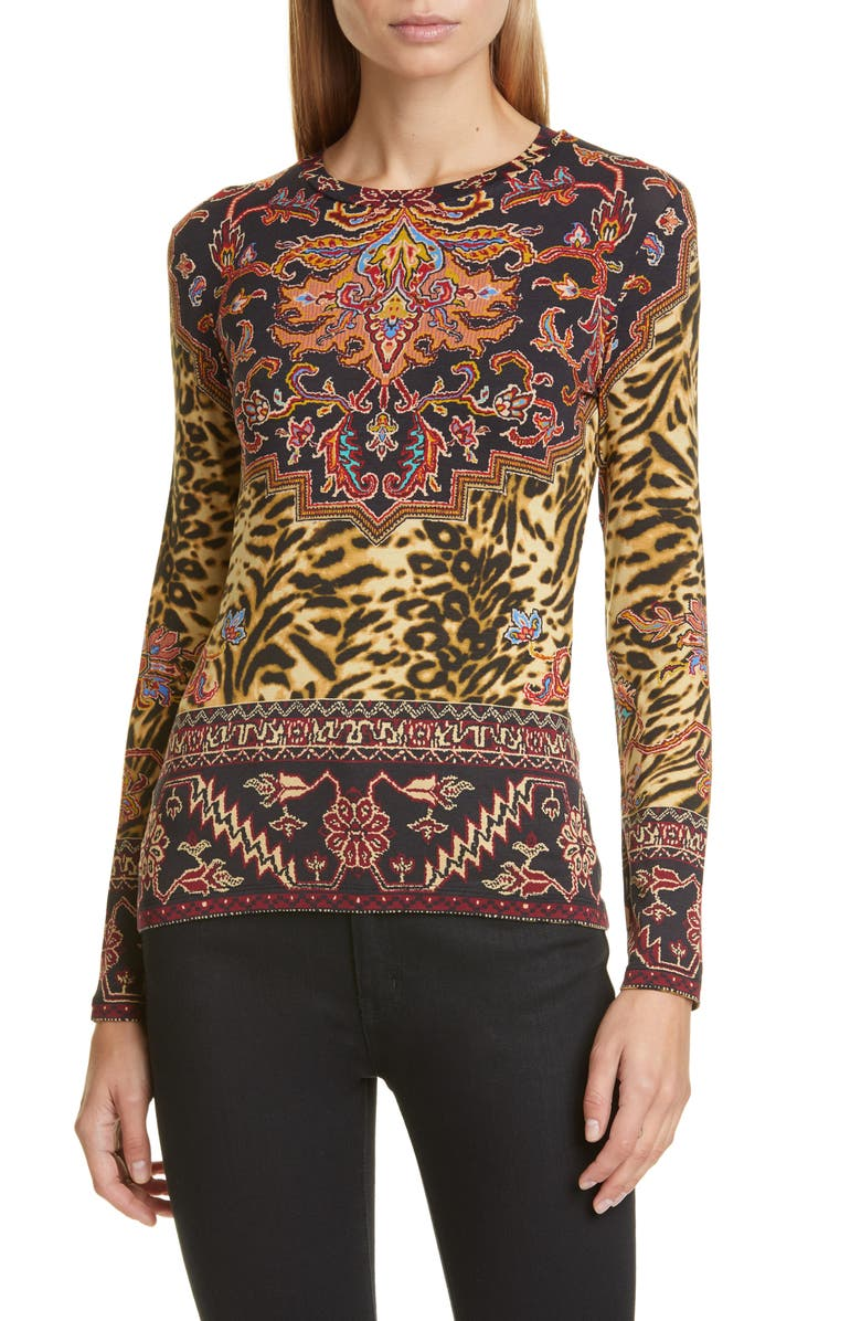 ETRO Print Jersey Tee, Main, color, 002