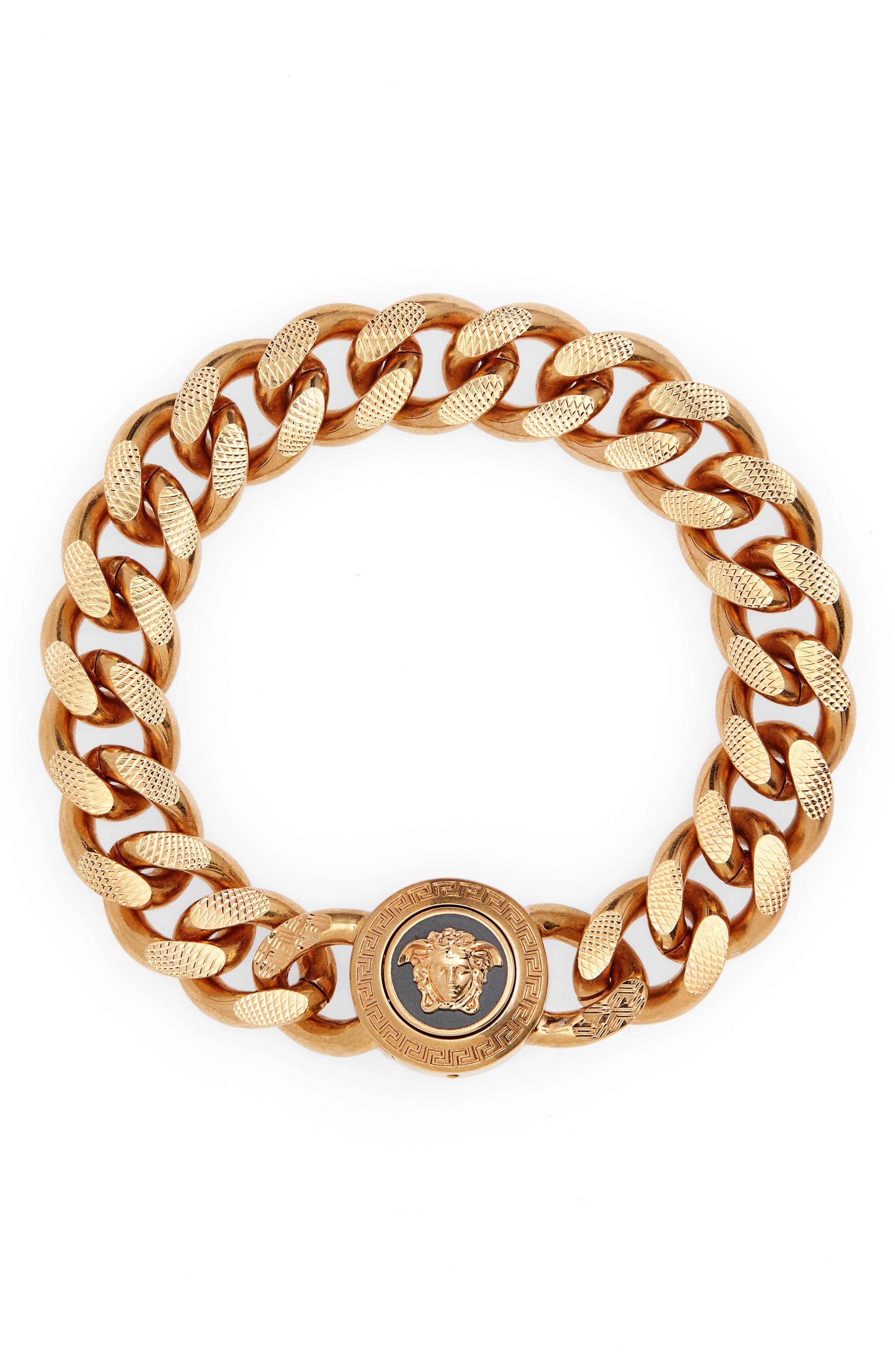 Medusa Chain Bracelet, Main, color, BLACK TRIBUTE GOLD