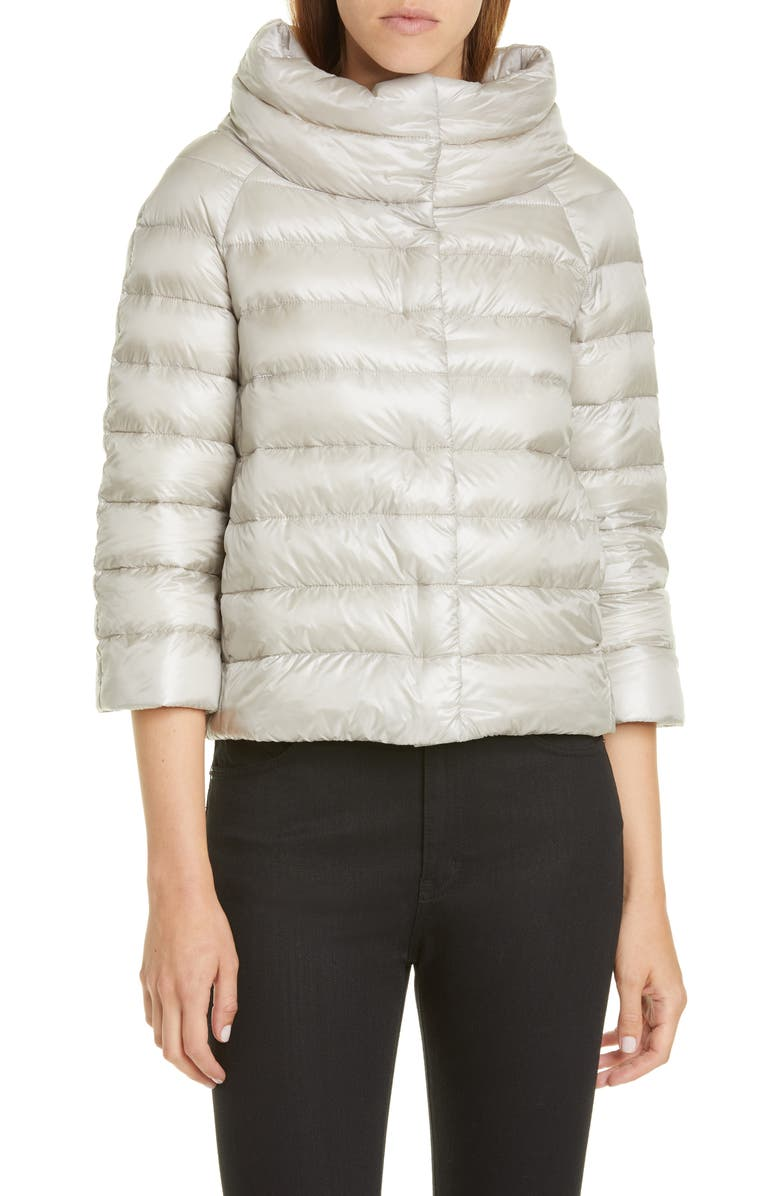 HERNO Quilted Down Crop Puffer Jacket, Main, color, SILVER