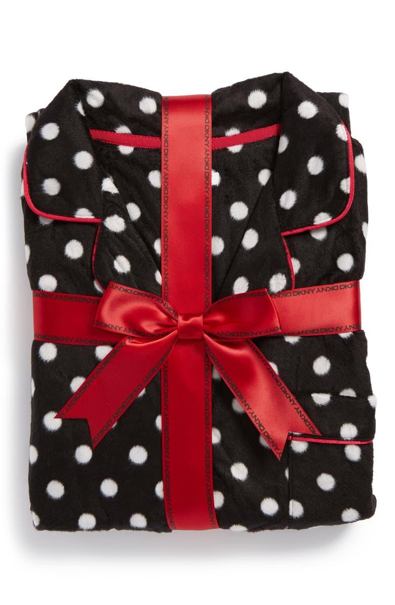 DKNY Long Sleeve Microfleece Pajamas, Main, color, 001