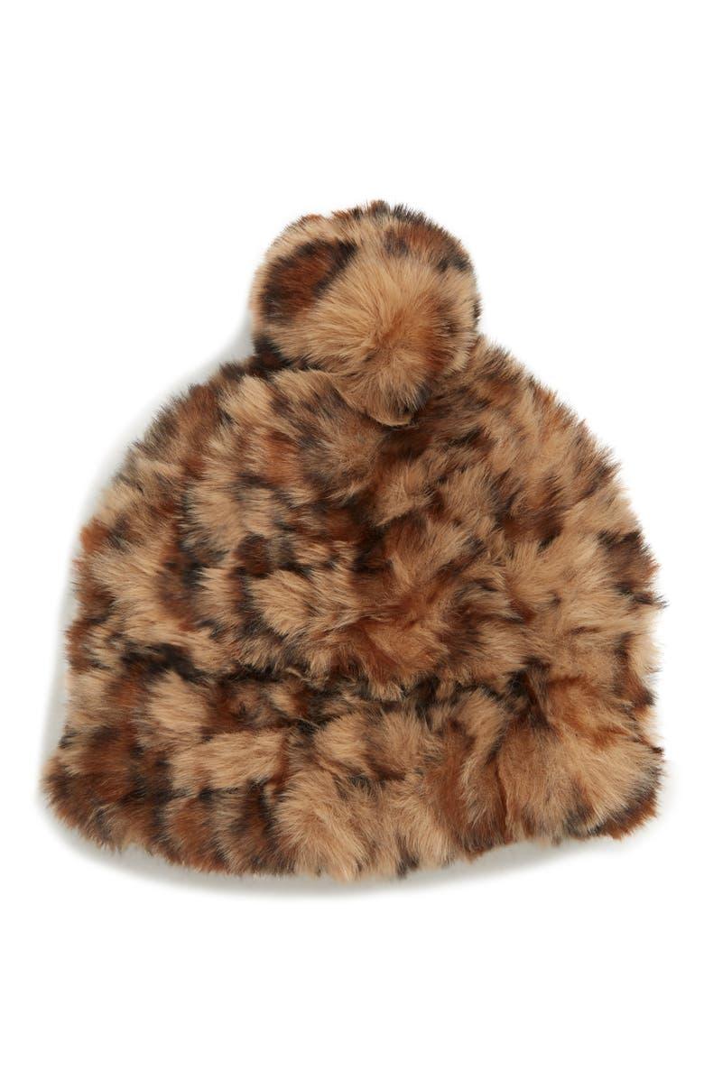 BP. Leopard Faux Fur Pompom Beanie, Main, color, 210