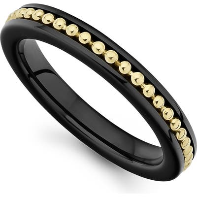 Lagos Gold & Black Caviar Band Ring