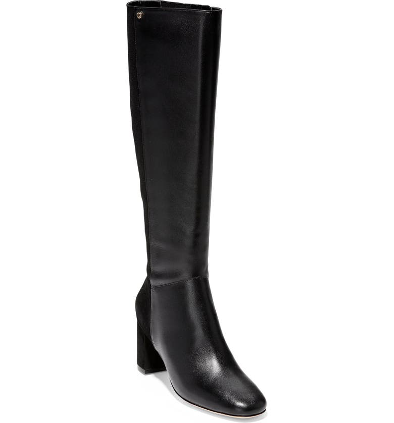 COLE HAAN Rianne Tall Boot, Main, color, BLACK LEATHER/ SUEDE