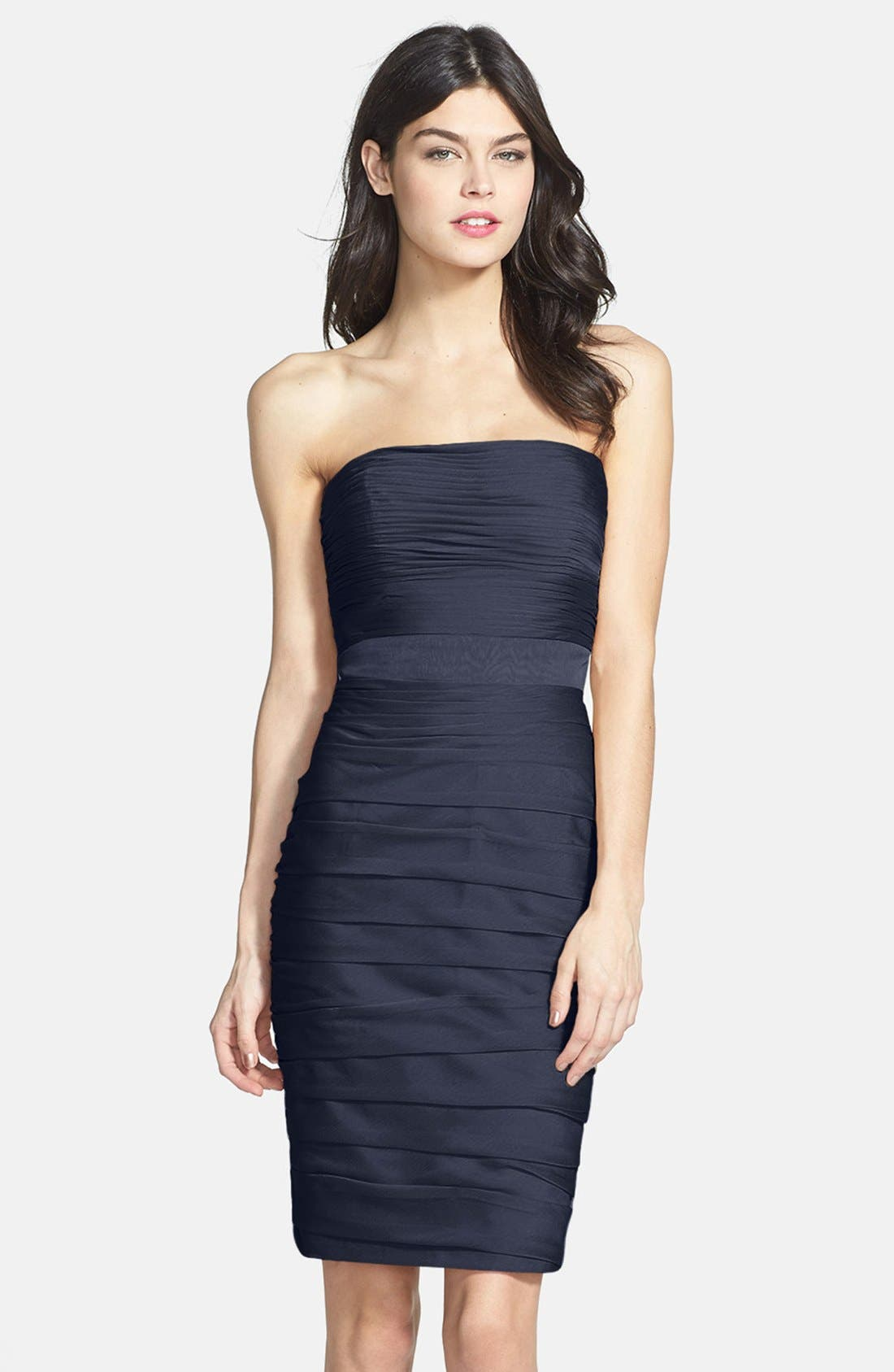 ,                             Ruched Strapless Cationic Chiffon Dress,                             Main thumbnail 41, color,                             400