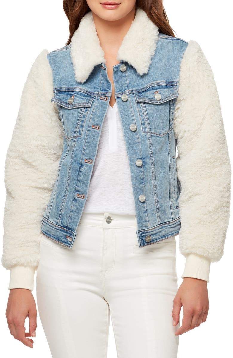 SANCTUARY Minka Faux Shearling & Denim Trucker Jacket, Main, color, 420