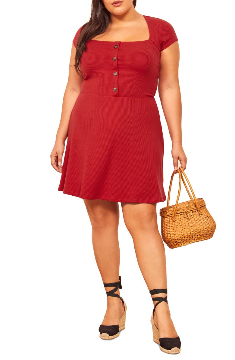 REFORMATION Lizzy Dress, Main, color, CHERRY