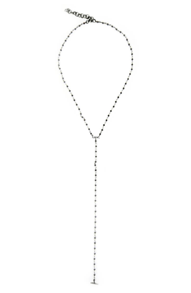 ADORNIA Rosary Love Lariat Necklace, Main, color, SILVER