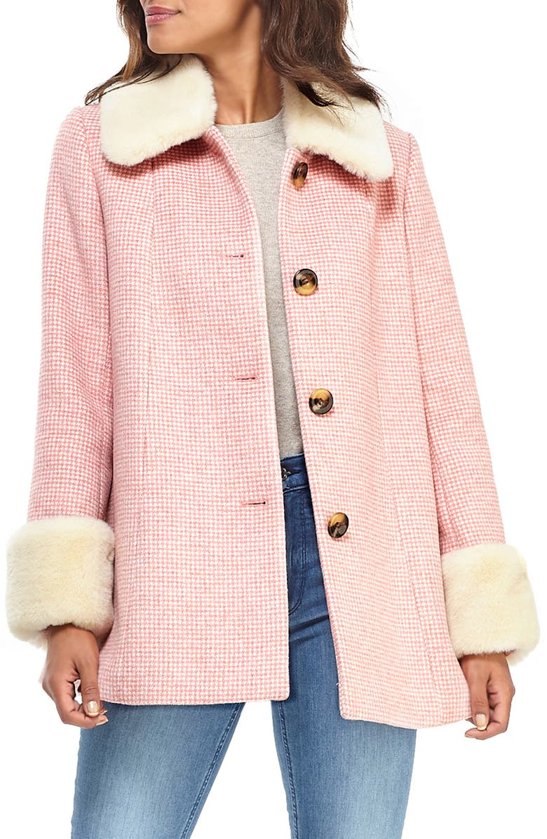 GAL MEETS GLAM COLLECTION Eloise Check Coat with Faux Fur Trim, Main, color, 680