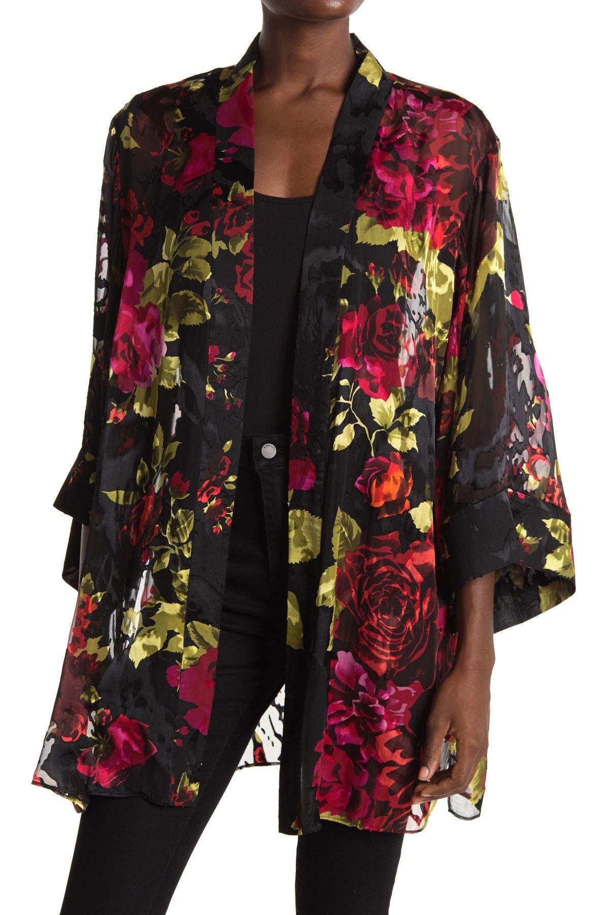 Image of Maree Pour Toi Floral Burnout Charmeuse Kimono