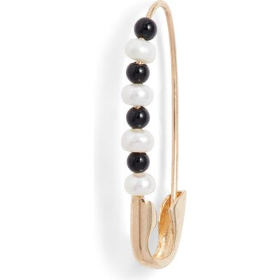 Loren Stewart Friendship Onyx & Pearl Safety Pin Earring