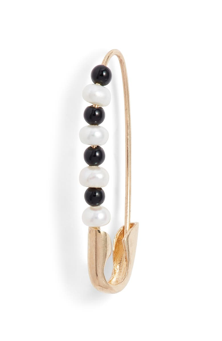 LOREN STEWART Friendship Onyx & Pearl Safety Pin Earring, Main, color, YELLOW GOLD/ PEARL/ BLACK ONYX