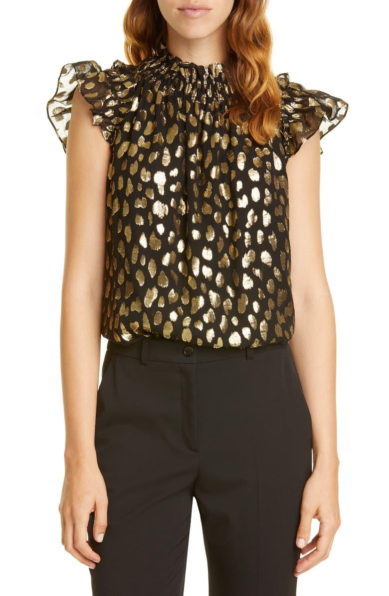 REBECCA TAYLOR Metallic Leopard Spot Silk Blend Top, Main, color, BLACK COMBO