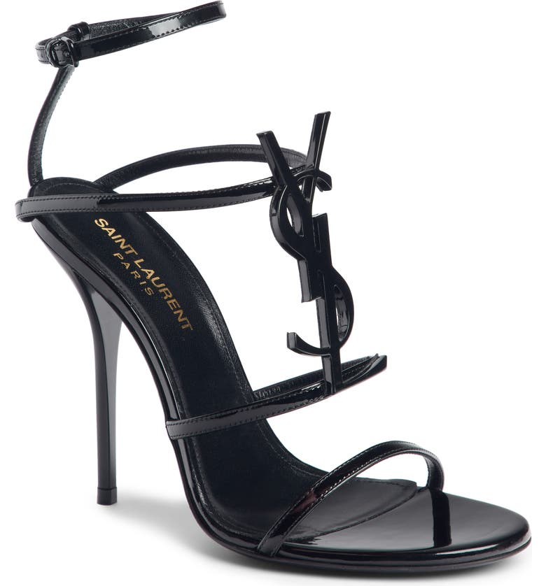 SAINT LAURENT Cassandra YSL Strappy Sandal, Main, color, 001