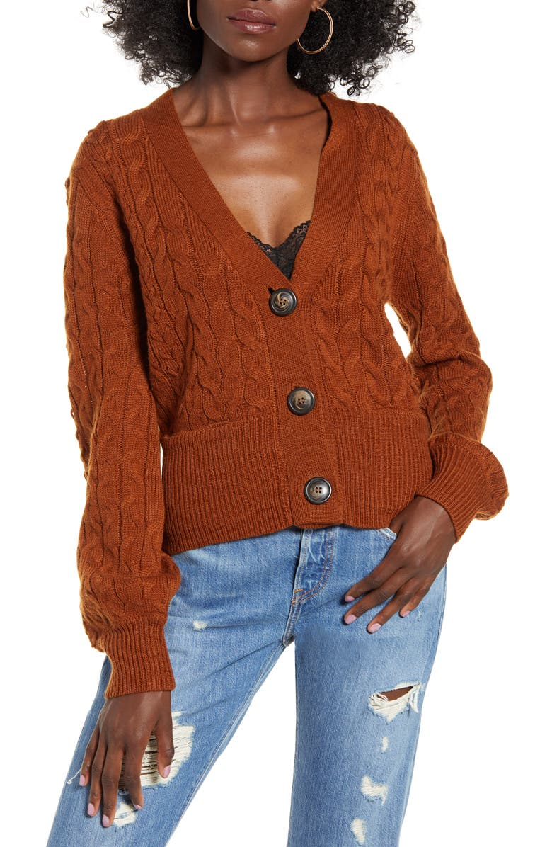 J.O.A. Cable Knit Cardigan, Main, color, RUST