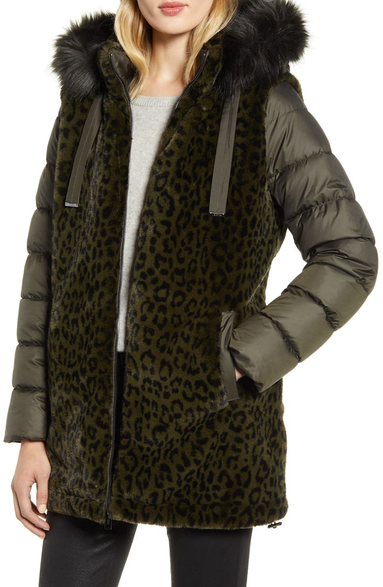 VIA SPIGA Water Resistant Faux Fur Puffer Coat, Main, color, OLIVE GREEN