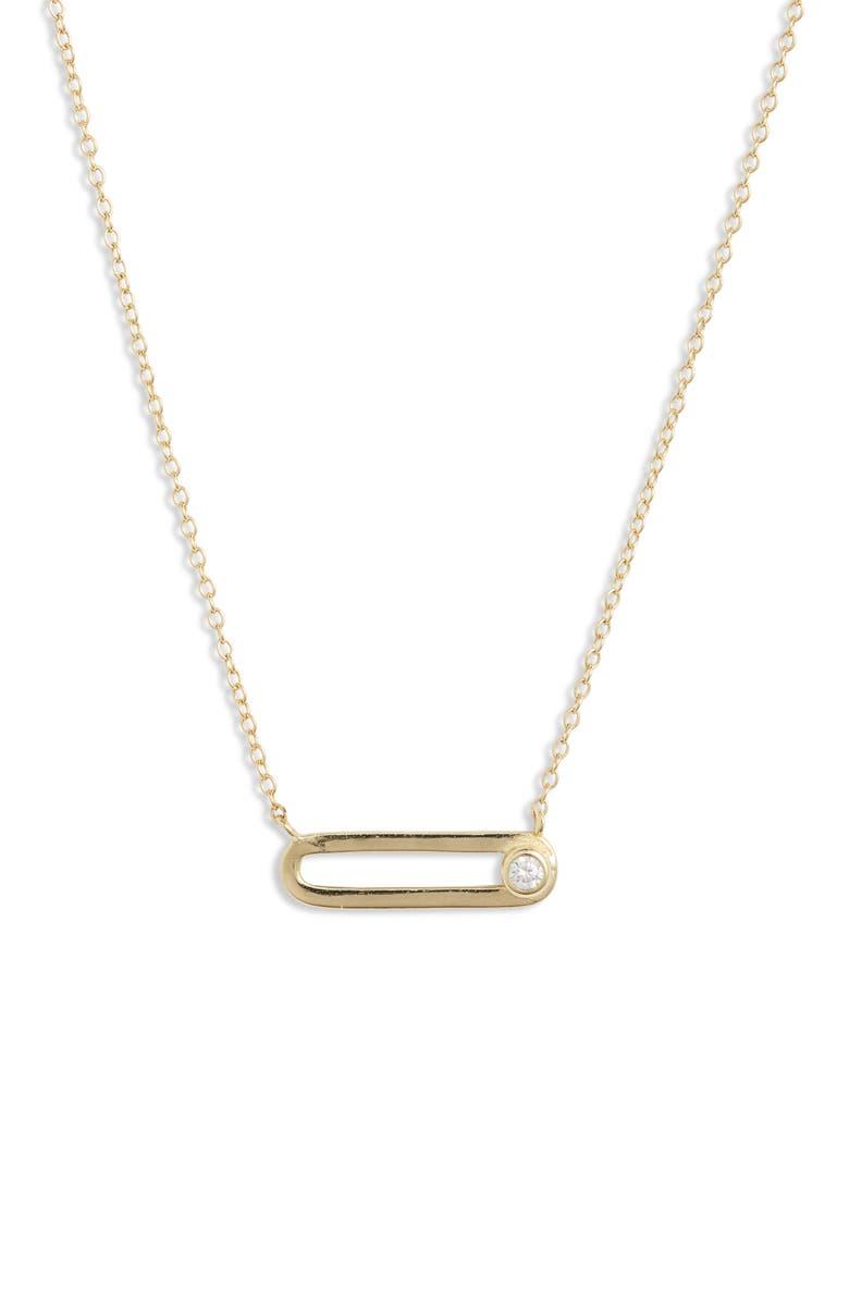 ARGENTO VIVO STERLING SILVER Argento Vivo Cubic Zirconia Paperclip Pendant Necklace, Main, color, 710