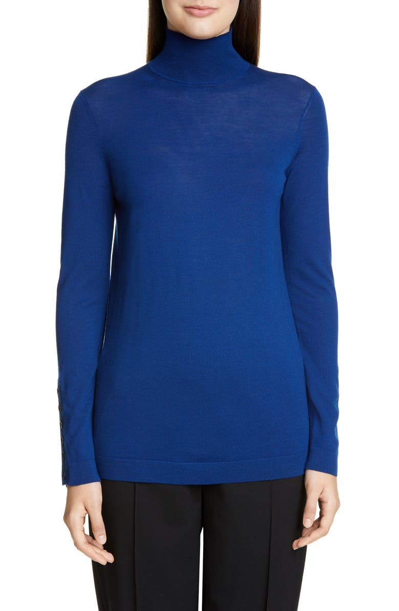 ST. JOHN COLLECTION Extrafine Merino Wool Jersey Top, Main, color, PRUSSIAN BLUE