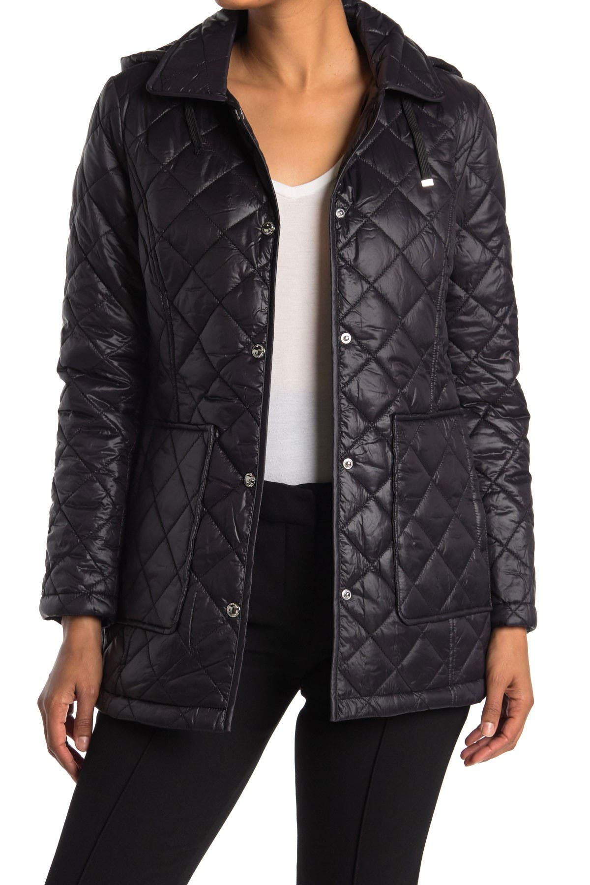 Image of Sam Edelman Hooded Short Quilted Coat