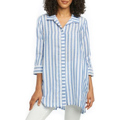 Foxcroft Skye Stripe Tunic Shirt, 8 (similar to 1) - Blue