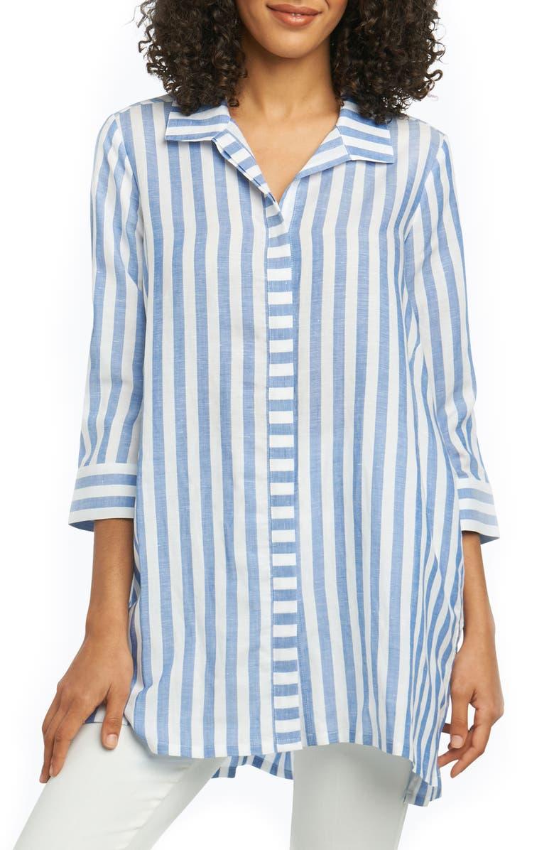 FOXCROFT Skye Stripe Tunic Shirt, Main, color, LAPIS BLUE