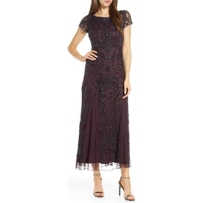 Petite Pisarro Nights Embellished Mesh Gown, Burgundy