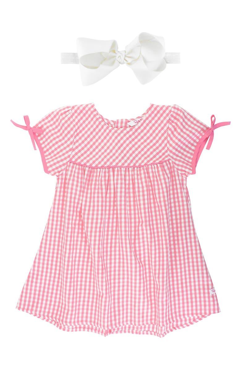 RUFFLEBUTTS Gingham Check Dress & Bow Head Wrap Set, Main, color, 650