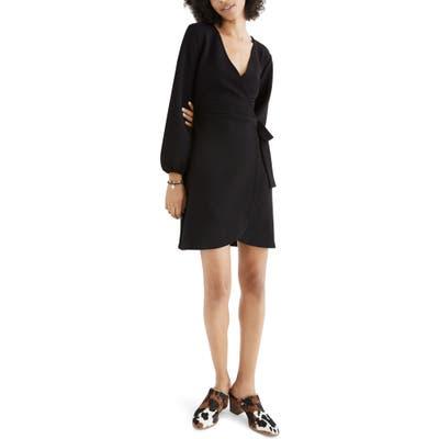 Madewell Texture & Thread Long Sleeve Side Tie Dress, Black