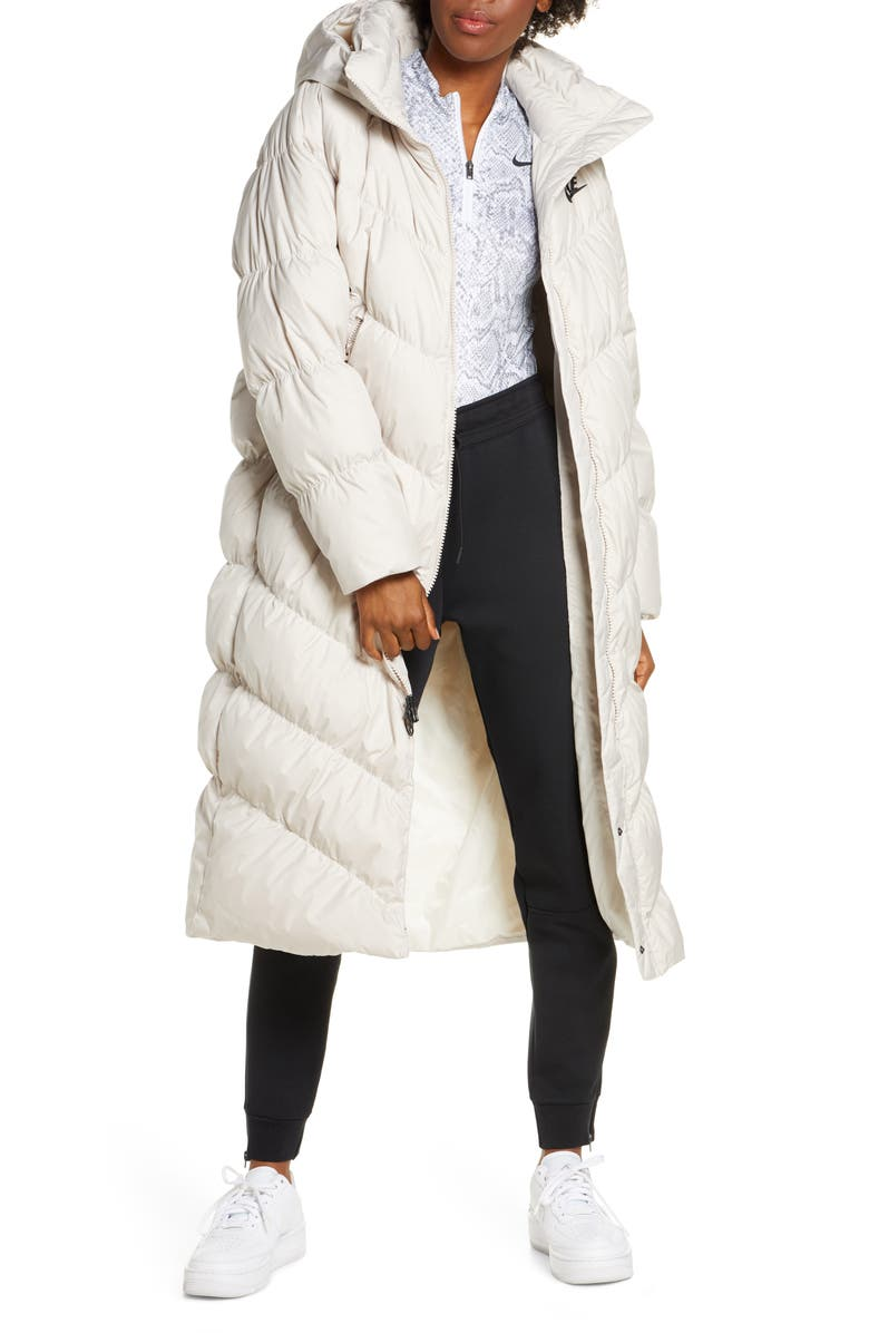 NIKE Sportswear Women's Down Fill Parka, Main, color, DESERT SAND/ PALE IVORY/ BLACK