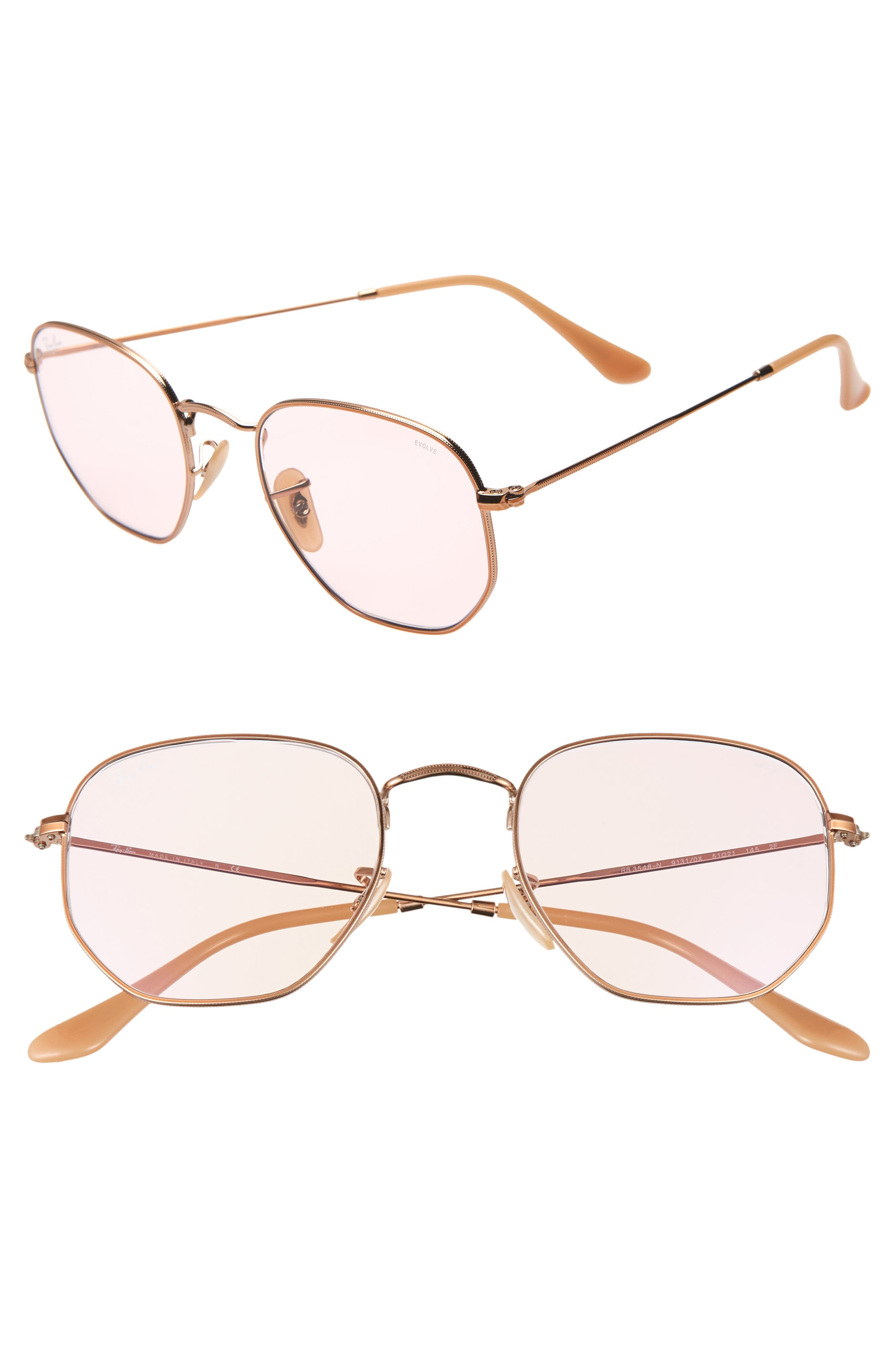 Ray-Ban 5m Evolve Photochromic Hexagon Sunglasses - Gold/ Pink Solid