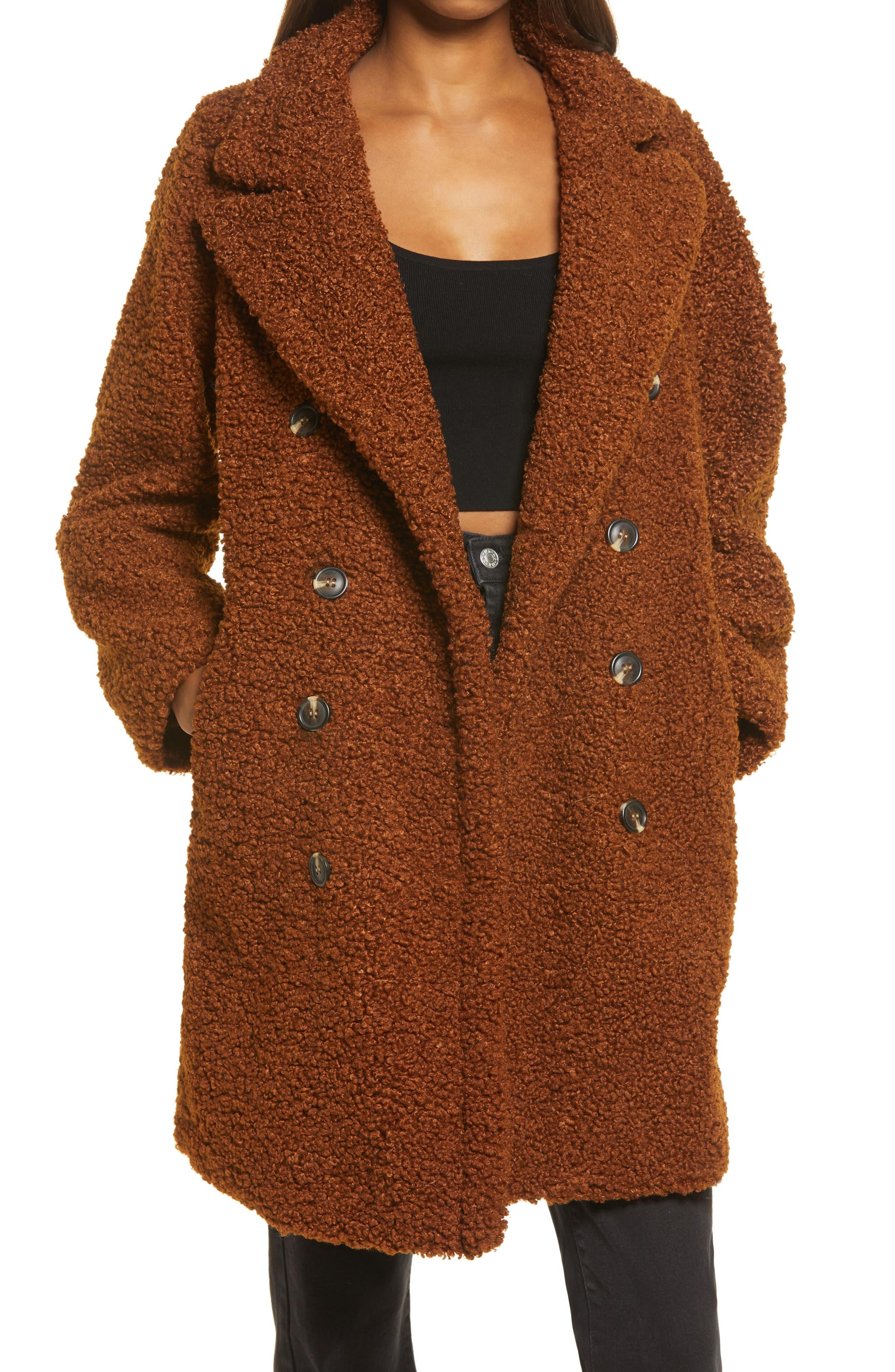 Women's Blanknyc Faux Shearling Jacket, Size Small - Brown