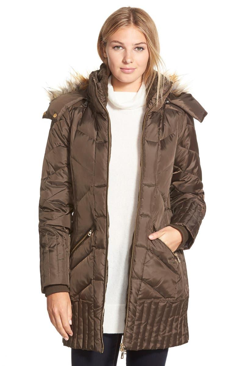 SAM EDELMAN 'Kate' Faux Fur Trim Hooded Down & Feather Fill Coat, Main, color, 330
