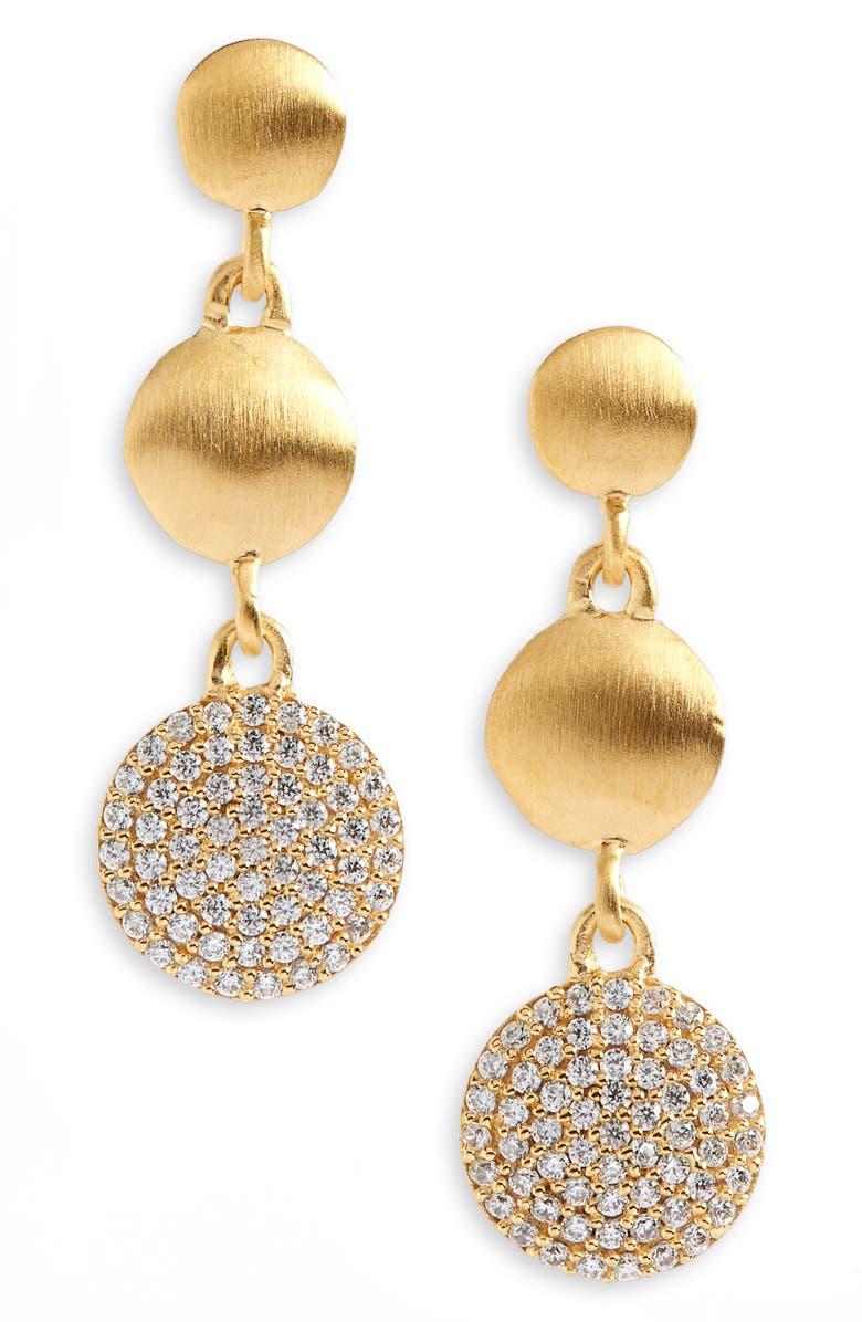 DEAN DAVIDSON Signature Pavé Triple Drop Earrings, Main, color, GOLD