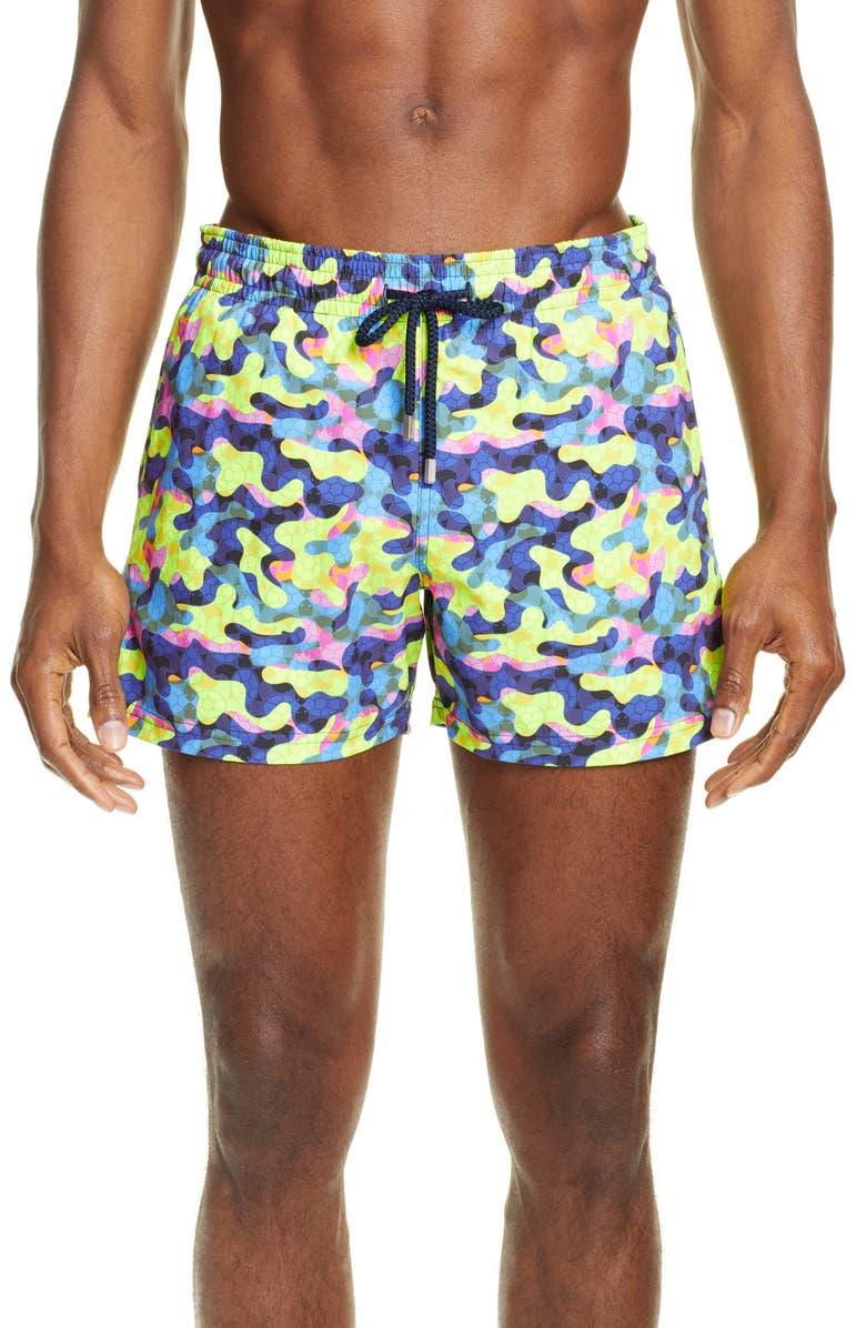 VILEBREQUIN Moorise Neo Camo Swim Trunks, Main, color, JAUNE