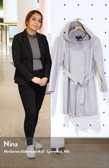 Hooded Faux Wrap Coat, sales video thumbnail